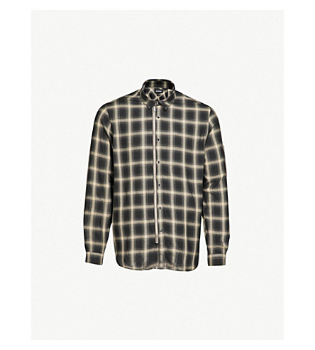 THE KOOPLES Zip-up checked slim-fit woven shirt (Gri17