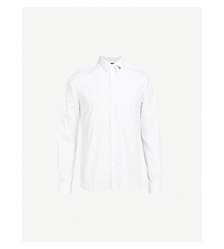 THE KOOPLES Badge-detail fitted cotton shirt (Whi01