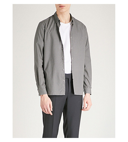 THE KOOPLES Geometric-print slim-fit cotton shirt (Gri17