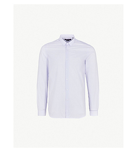 THE KOOPLES Micro pattern slim-fit cotton shirt (Blu01
