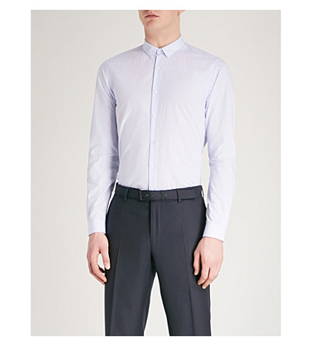 THE KOOPLES Micro pattern slim-fit cotton shirt (Blu01
