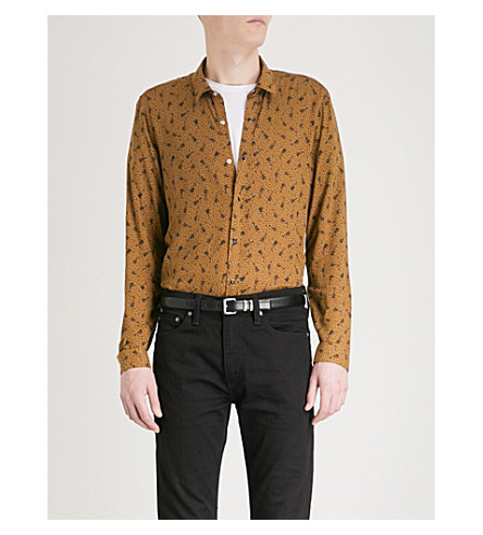 THE KOOPLES Guitar and music-note pattern slim-fit woven shirt (Cam01