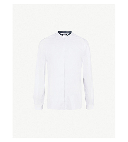 THE KOOPLES Leather-detail slim-fit cotton shirt (Whi01