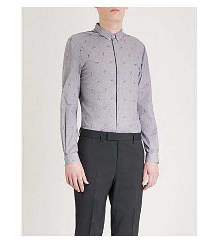 THE KOOPLES Guitar pattern slim-fit woven shirt (Blu01