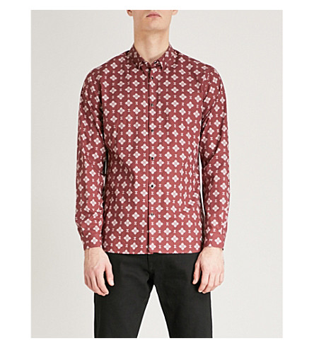 THE KOOPLES Geometric-pattern slim-fit cotton shirt (Bur01