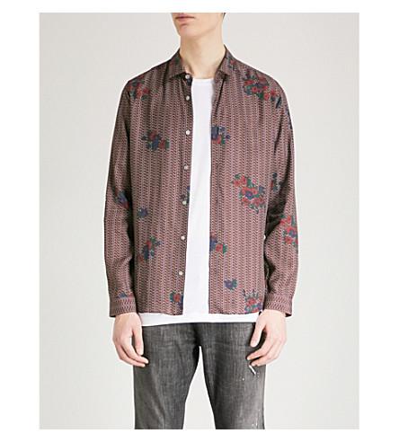 THE KOOPLES Floral-print slim-fit cotton shirt (Bur01