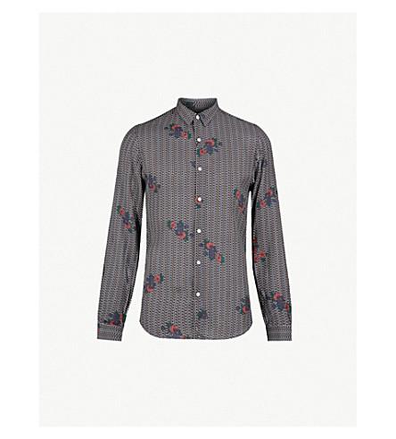 THE KOOPLES Floral-print slim-fit cotton shirt (Nav03