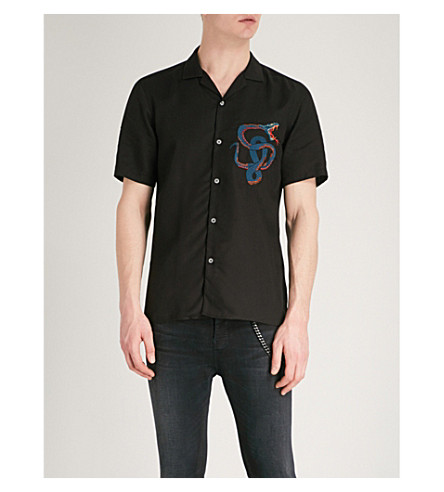 THE KOOPLES Snake-embroidered slim-fit woven shirt (Bla01