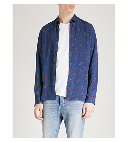 THE KOOPLES Abstract-pattern slim-fit cotton shirt (Nav03