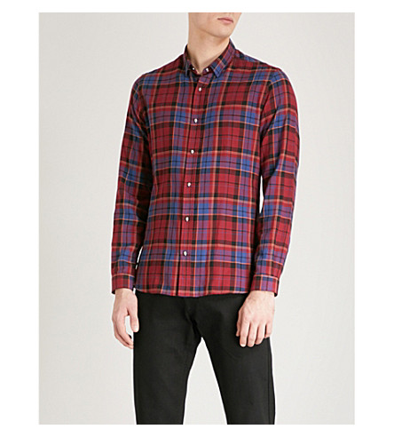 THE KOOPLES Tartan slim-fit cotton shirt (Red16