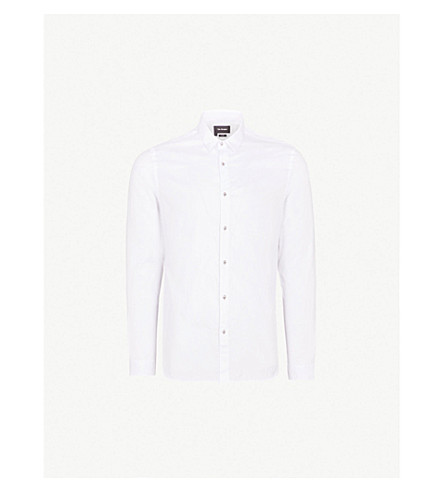 THE KOOPLES Slim-fit cotton-piqué shirt (Whi01