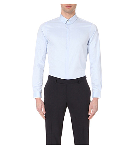 THE KOOPLES Slim-fit cotton-twill shirt (Blue