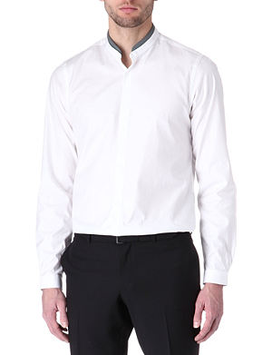 THE KOOPLES Leather-collar fitted single-cuff shirt