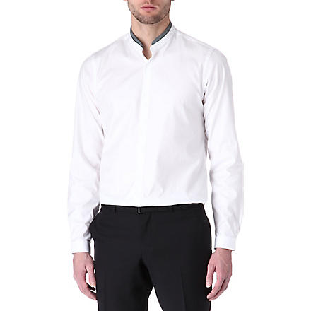 THE KOOPLES Leather-collar fitted single-cuff shirt (White