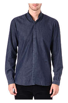 THE KOOPLES Leather-collar single-cuff denim shirt