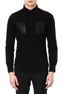 THE KOOPLES Leather pocket cotton shirt