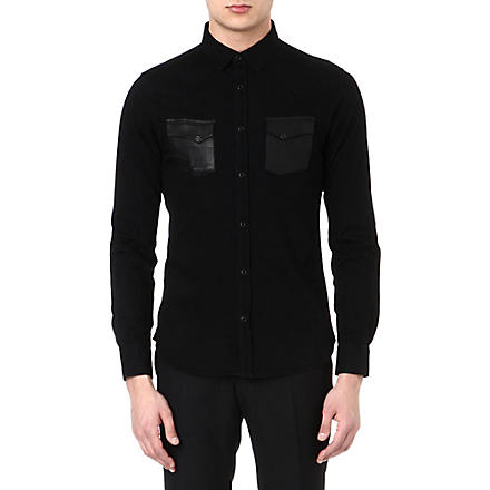 THE KOOPLES Leather pocket cotton shirt (Black