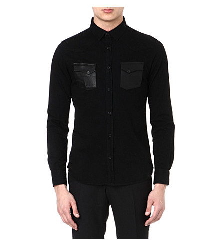 THE KOOPLES Leather pocket cotton shirt (Black