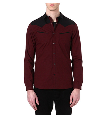 THE KOOPLES Microcheck slim-fit cotton shirt (Black - red