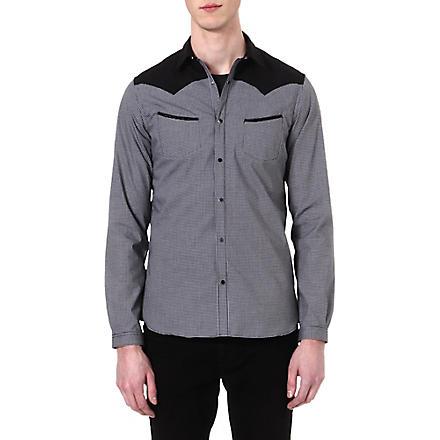 THE KOOPLES Microcheck slim-fit cotton shirt (Black / white