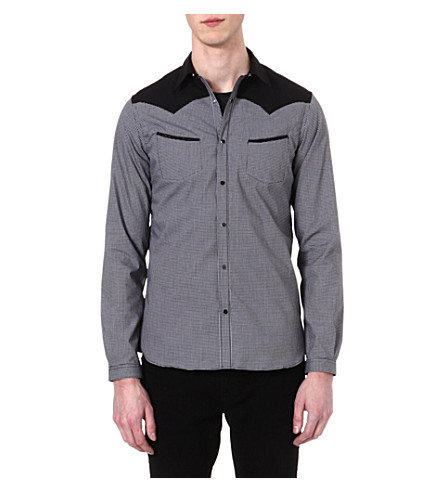 THE KOOPLES Microcheck slim-fit cotton shirt (Black / white