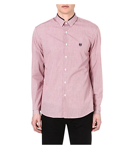 THE KOOPLES SPORT Contrast-trim checked shirt (Red-white