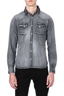 THE KOOPLES Distressed denim cotton shirt