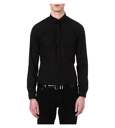 THE KOOPLES Polka-dot slim-fit shirt (Black