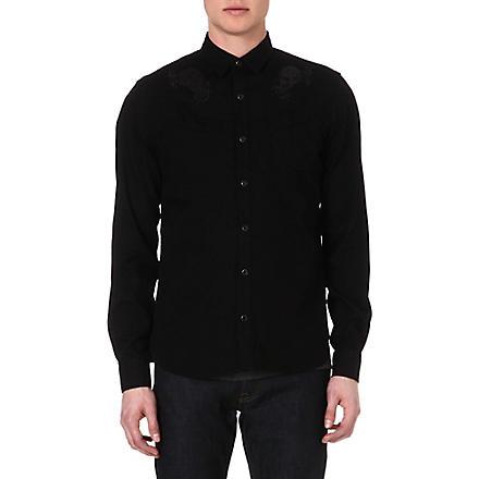 THE KOOPLES Baroque Skullhead embroidered denim shirt (Black