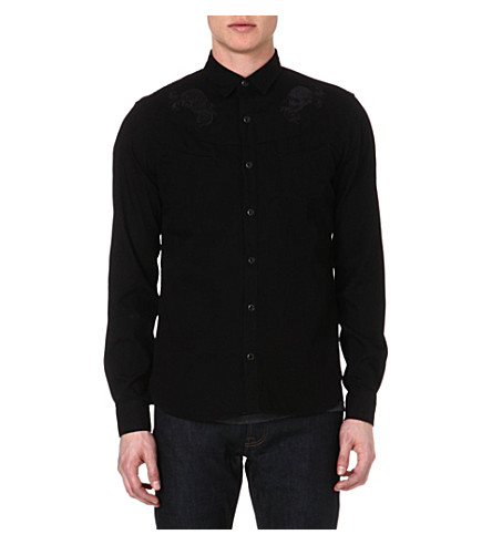 THE KOOPLES Baroque Skullhead embroidered denim shirt (Black