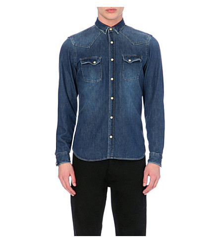 THE KOOPLES Faded effect denim shirt (Blue