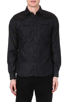 THE KOOPLES Leather-panelled denim shirt