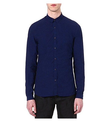 THE KOOPLES Denim-style slim-fit shirt (Blue
