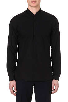 THE KOOPLES Leather-trim slim-fit shirt