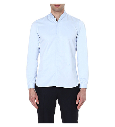 THE KOOPLES Stand-collar slim-fit shirt (Light+blue