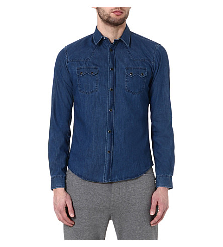THE KOOPLES SPORT Denim shirt with western details (Blue