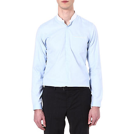 THE KOOPLES Standup collar slim-fit cotton-pique shirt (Blue