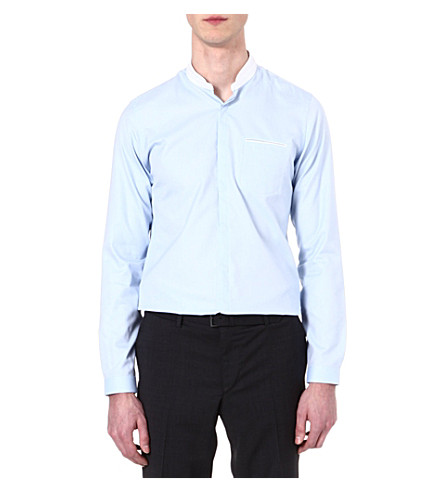 THE KOOPLES Standup collar slim-fit cotton-pique shirt (Blue