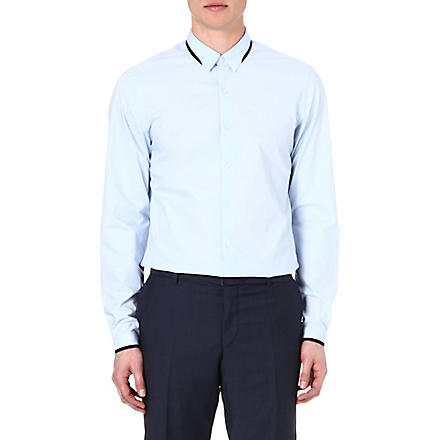 THE KOOPLES Grosgrain-trim regular-fit shirt (Blue