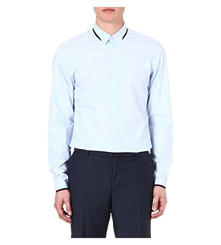 THE KOOPLES Grosgrain-trim regular-fit shirt (Blue
