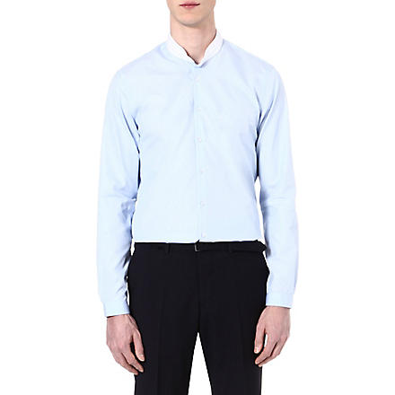 THE KOOPLES Striped cotton-poplin slim-fit shirt (Blue