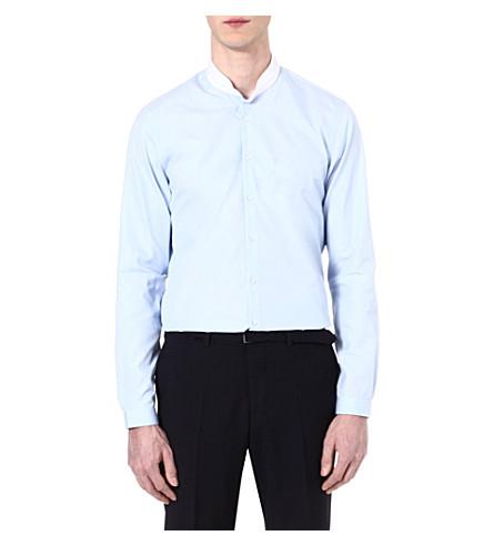 THE KOOPLES Striped cotton-poplin slim-fit shirt (Blue