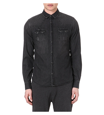 THE KOOPLES SPORT Western-detailed denim shirt (Grey