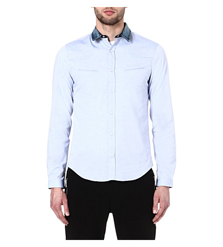 THE KOOPLES SPORT Oxford shirt with denim collar (Blue