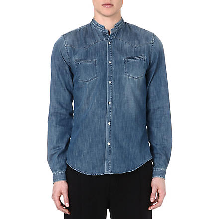THE KOOPLES SPORT Stand-collar denim shirt (Blue