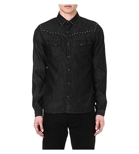 THE KOOPLES Slim-fit denim shirt (Black