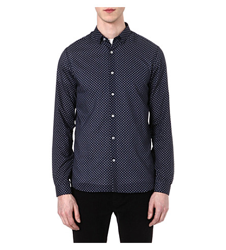 THE KOOPLES Micro stars-print slim-fit shirt (Dark navy / white