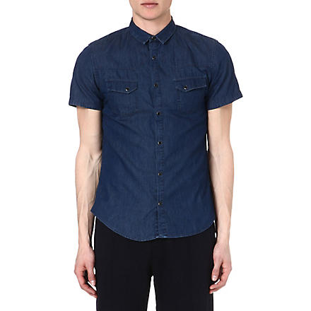 THE KOOPLES SPORT Short-sleeved denim shirt (Blue