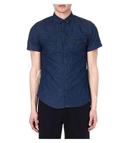 THE KOOPLES SPORT Short-sleeved denim shirt (Blue