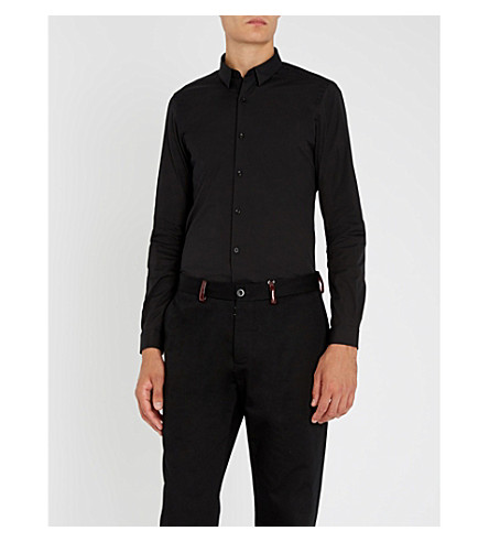 THE KOOPLES Slim-fit cotton-poplin shirt (Black
